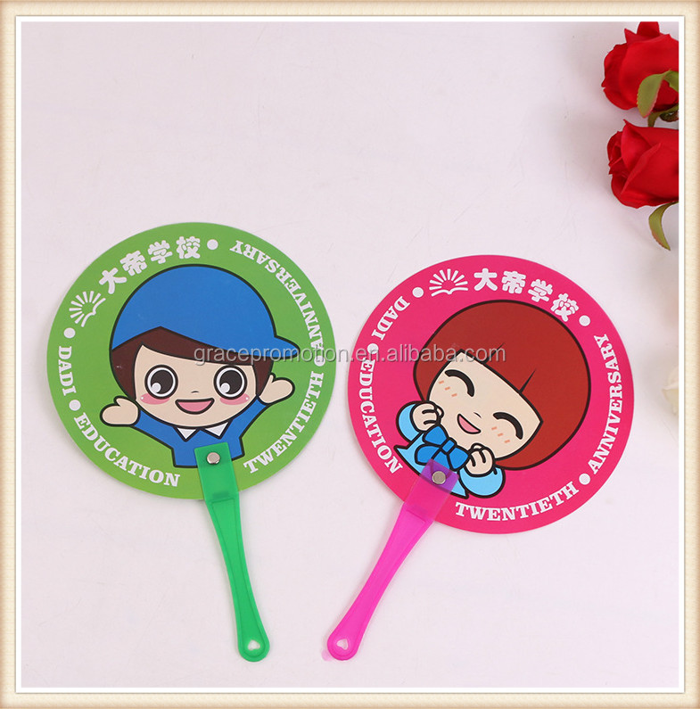 Round promotion plastic hand fan