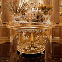 Luxury Gold Leaf Round Dinning Table With Chairs, Exquisite Wood Carved Furniture Dinning Room Set