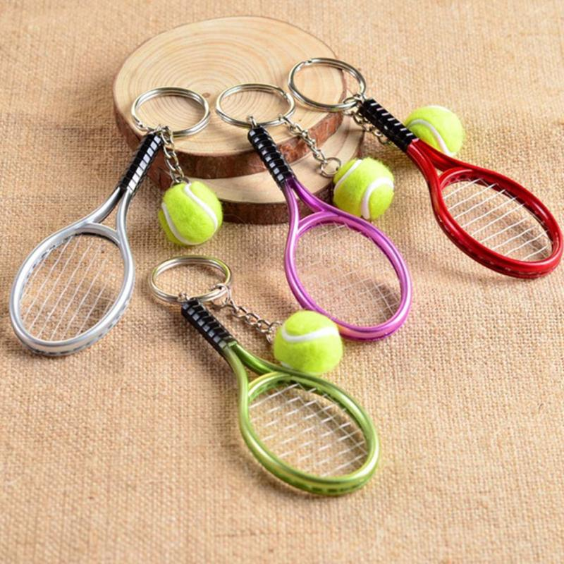 Sport Mini Tennis Racket Pendant Keychain Gifts for Teenager Fan Keyring Key Chain Ring Finder Holer Accessories