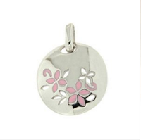 Round shaped sterling with pink flower