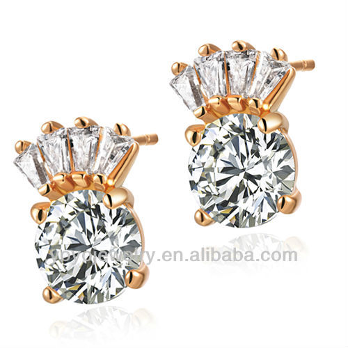 Christmas gift diamond stud earrings wholesale crown crystal decoration