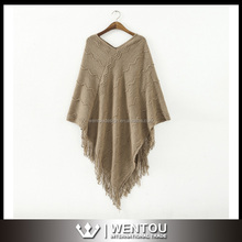 Hot Sell Fashion Fringed Womens Poncho Crochet Shawl