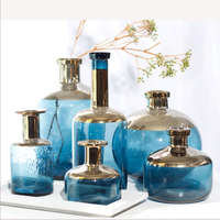 Wholesale transparent New Design Cutomized Handmade Clear Exquisite Colored Cylinder Glass Vases for Home Decor