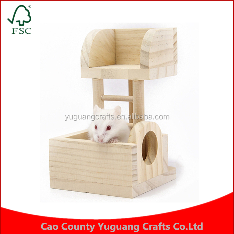 New 2016 Small Pet Toys Supplies Lookout Tower Hamster Rat Mice Gerbil Hideout Accessories Wooden Cage