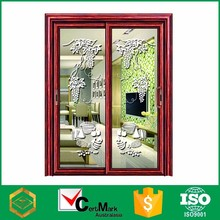 China Wood Grain Aluminum Shape Arch Door