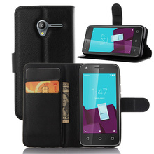 Litchi PU Card Holder Wallet Flip Leather Case For Vodafone Smart Speed 6 VF795