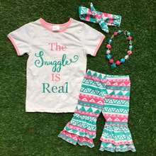 "2016 Summer outfit girls cute clothes Aztec capri outfit ""The Snuggle is Real "" Spell girls set matching necklace and headband"