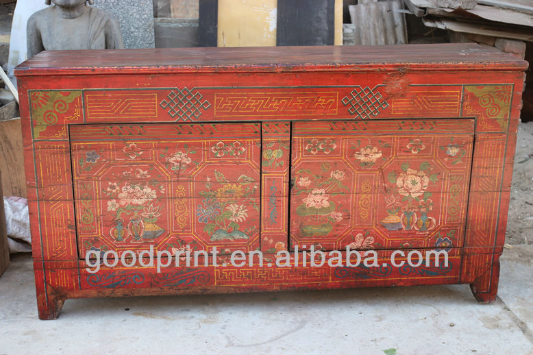 Asian Antiques Vintage Hand Painted Mongolia Console Cabinet