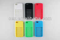 PINK TPU SILICONE SLIM BACK CASE COVER FOR NEW APPLE iPHONE 5C RETRO DOTS HOLE