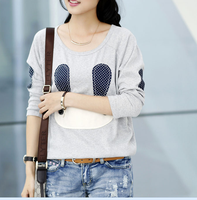 cute design fashionable long-sleeved tee shirts special t shirt women 2016
