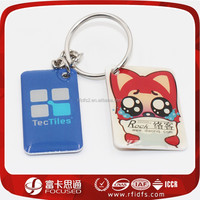 rectangle epoxy printed custom rfid key tag with a hole punched for key chain