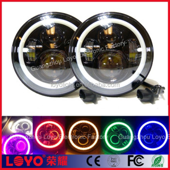 7 Inch 45W Round Car LED Headlight with Amber Halo Angle Eyes Jeep Wrangler