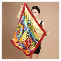 High Quality Digital Print Scarf Post-Impressionism Silk Scarf New Fashional Customizable