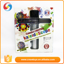 Children colorful mini plastic flashing light toy kaleidoscope with battery