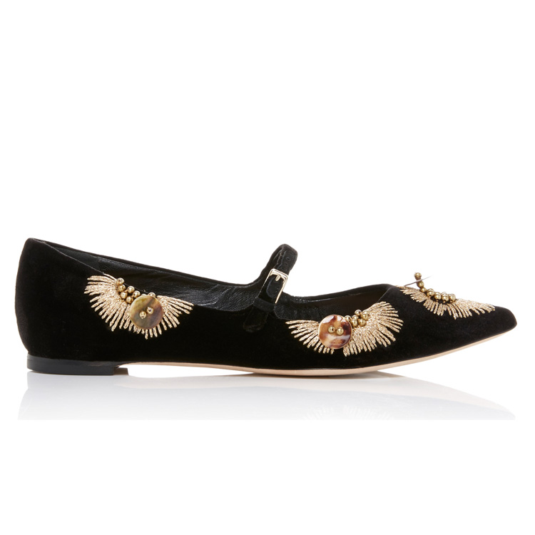 Classical Close Shoes With Embroidered And Diamond Flat Heel Lady Close Shoes