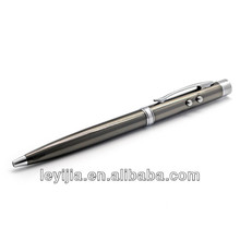 Matt black metal ball pen with red laser pointer & led light