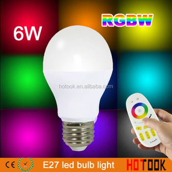 Mi Light 2.4G AC85-265V E27 6W RGBW LED Bulb Wireless Dimmable Bulb+ 4-Zone RF remote Controller