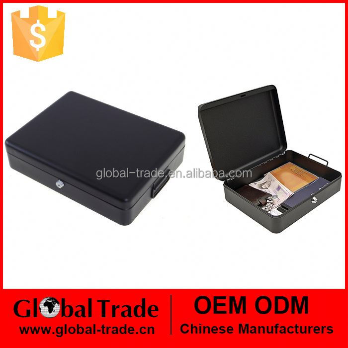 A4 File Documents Security Cash Jewelry Storage Safety Deposit Secure Lock Metal Matte Black Box 462754
