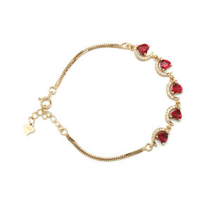 S925 silver jewelry cheap bracelet moon heart shape ruby silver bracelet
