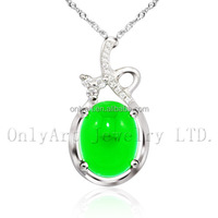Noble Luxurious Jade Jewelry 925 Sterling Sliver Pendant