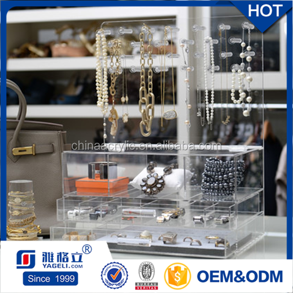 Wholesale acrylic earring jewelry holder necklace storage box