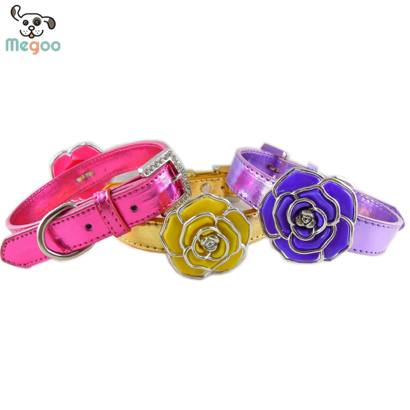 Rose Flower Studded Dog Collar PU Leather Puppy Collars With Rhinestone Embedded