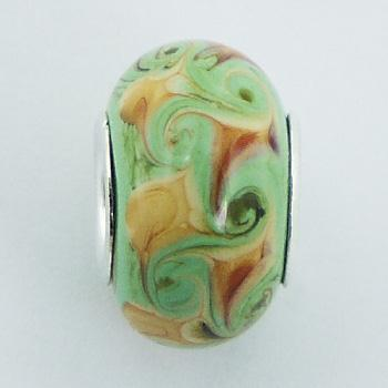 Murano Glass Bead Amazing Nature Colors 925 Silver Core