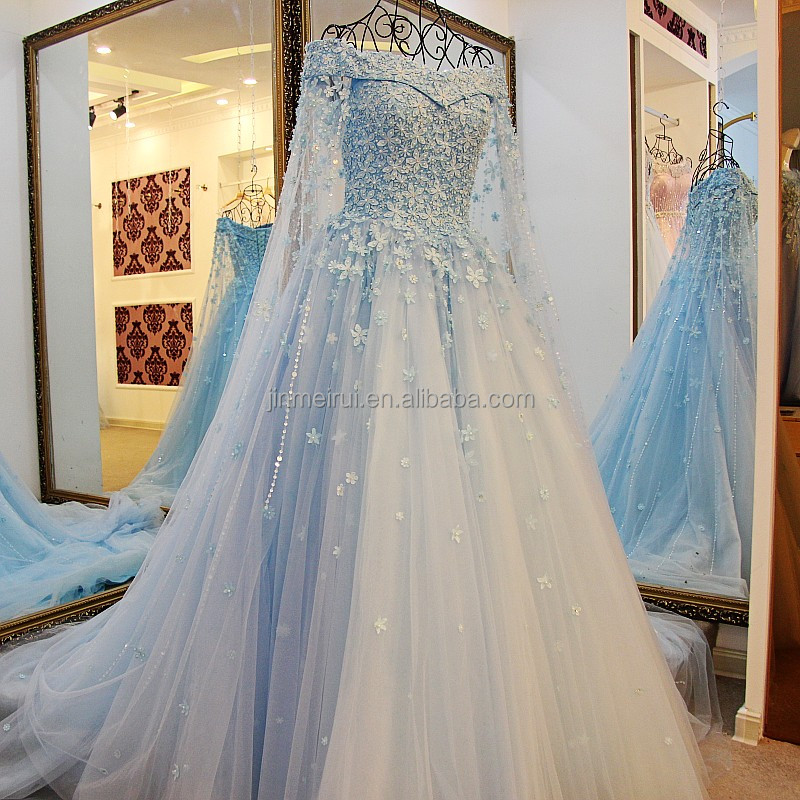 Gorgeous Light Blue Wedding Dresses Boat Neck Long Sleeves Lace Flowers Appliques A-line Long Bridal Gown For Wedding