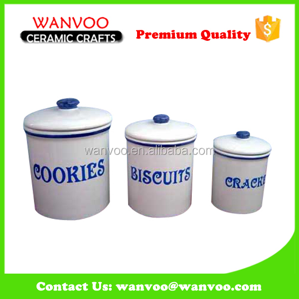 White and Blue Ceramic Coffee Tea Sugar Container