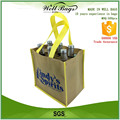 custom yellow PP non woven 6 body bottles wine reusable tote shopping bag alibaba trade assurance