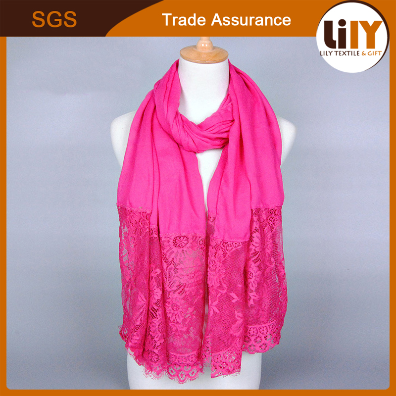 Factory Price Cotton Laces Fashion Viscose Knit Scarf