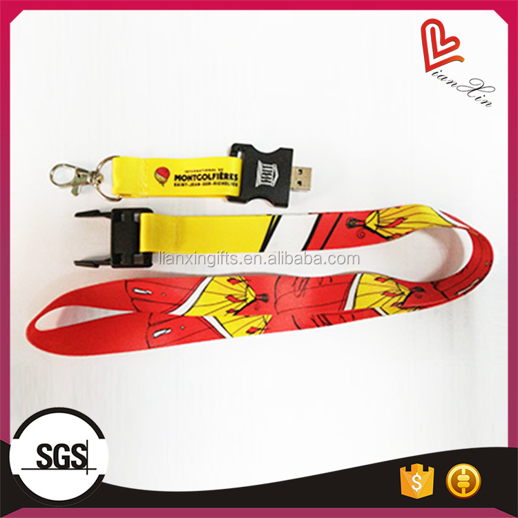 2017 promotional wholesale printing lanyard usb flash drive with logo