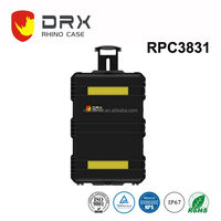 Black Watertight Carry On Hard Rugged Protective Case with Wheels and Handle for Electronics, Equipment, Cameras, Tools, Drones,