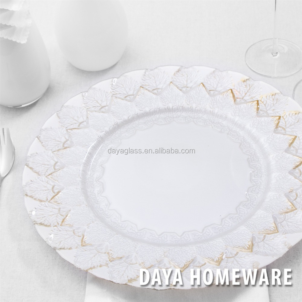 GP0042 Wholesale dishes clear fancy glass wedding charger plates for hotel and restaurants