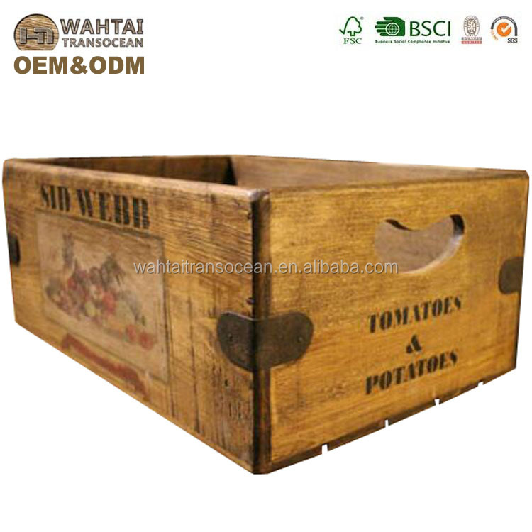 Factory New Products Decorative Vintage Rustic Antique Wooden Crates Wholesale