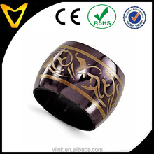 2015 Alibaba Top Seller Popular Black Titanium Domed Anodized Copper Color 16mm Wedding Band
