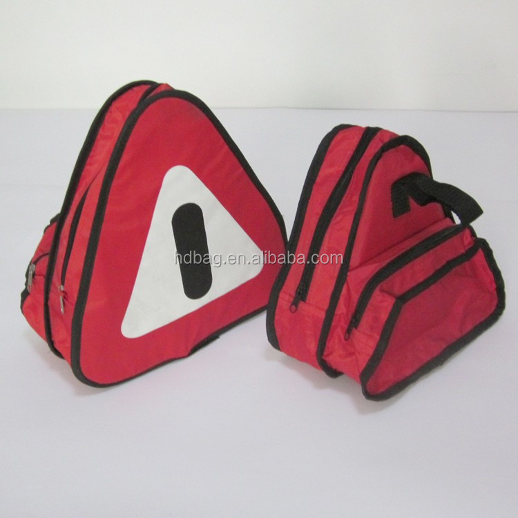 customized red triangle car safety emergency auto safety kit tool toolkit bag