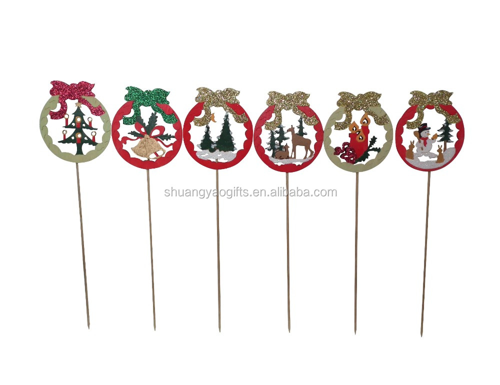Wooden christmas ribbon shape Stick with snowman /tree/elk/bell/candle LOGO ornament XMAS ribbon with glitter stick for garden D