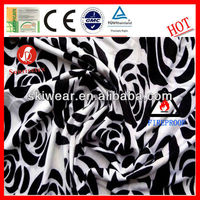 Fireproof Polyester Black and White Print Fabric