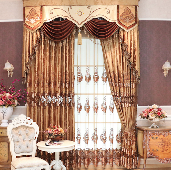 Premium water soluble embroidered finished high-grade embroidered velvet curtains