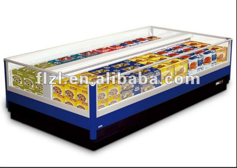 2012 new style horizontal showcase supermarket all-glass showcase with full view of foods