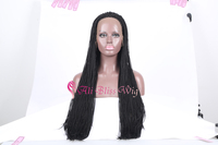 Cheap 350 long black synthetic hair dreads african wig for braiding synthetic front lace wig
