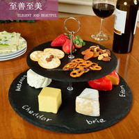 Whoesale Wedding Stone 2 Tier Cake Stand Round Slate Cheese Board Dinnerware