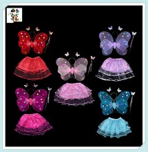 Colorful Kids Girl Party Princess Butterfly Fairy Wings Set with Skirts HPC-0803