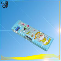 china jinjiang demao stationery factory directly salel pvc plastic magnet pencil box school with sharpener and double side