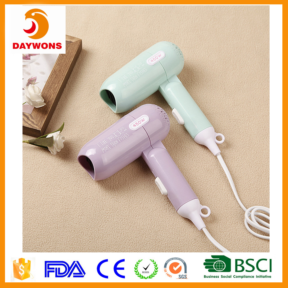 Mini 450 Watt Low Powered Electrial Appliances Colorful Portable Folding Hair Dryer