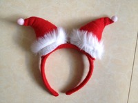 new hot selling fashion christmas headband with mini red santa hats