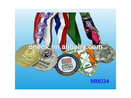 Plate Gold/ Silver/ Copper sport award metal medal / ribbon medal