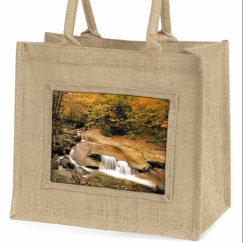 Autumn waterfall large natural jute shopping bag Christmas gift idea