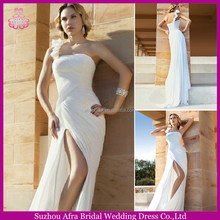 SD1066 one shoulder simple chiffon beach wedding dresses side split front slit wedding dress